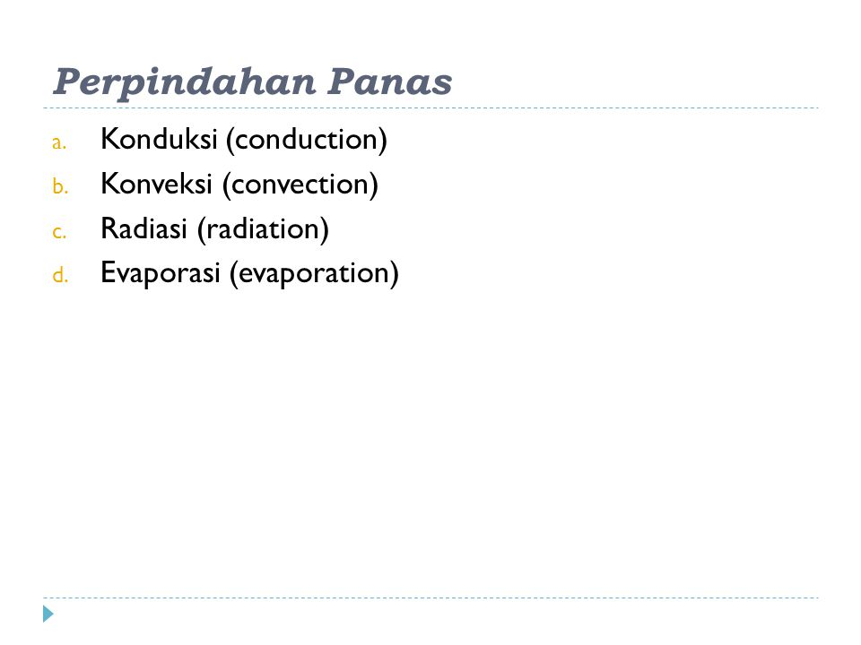 Perpindahan Panas Konduksi (conduction) Konveksi (convection)
