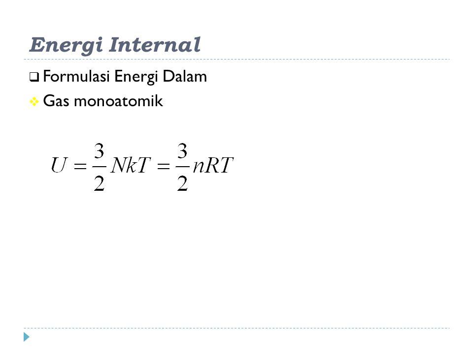 Energi Internal Formulasi Energi Dalam Gas monoatomik