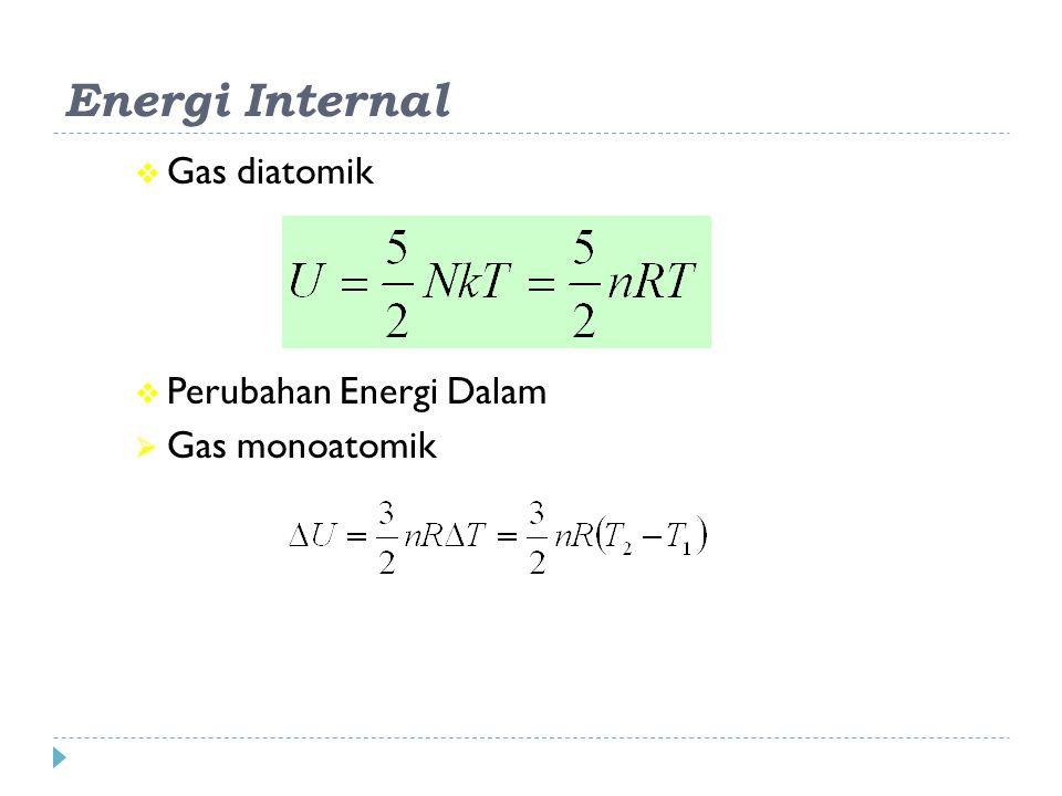 Energi Internal Gas diatomik Perubahan Energi Dalam Gas monoatomik