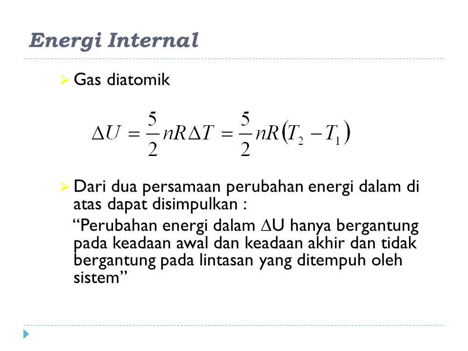 Energi Internal Gas diatomik
