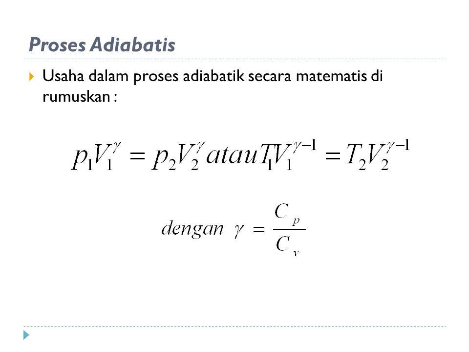Proses Adiabatis Usaha dalam proses adiabatik secara matematis di rumuskan :