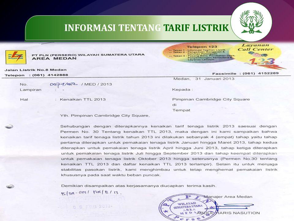 INFORMASI TENTANG TARIF LISTRIK
