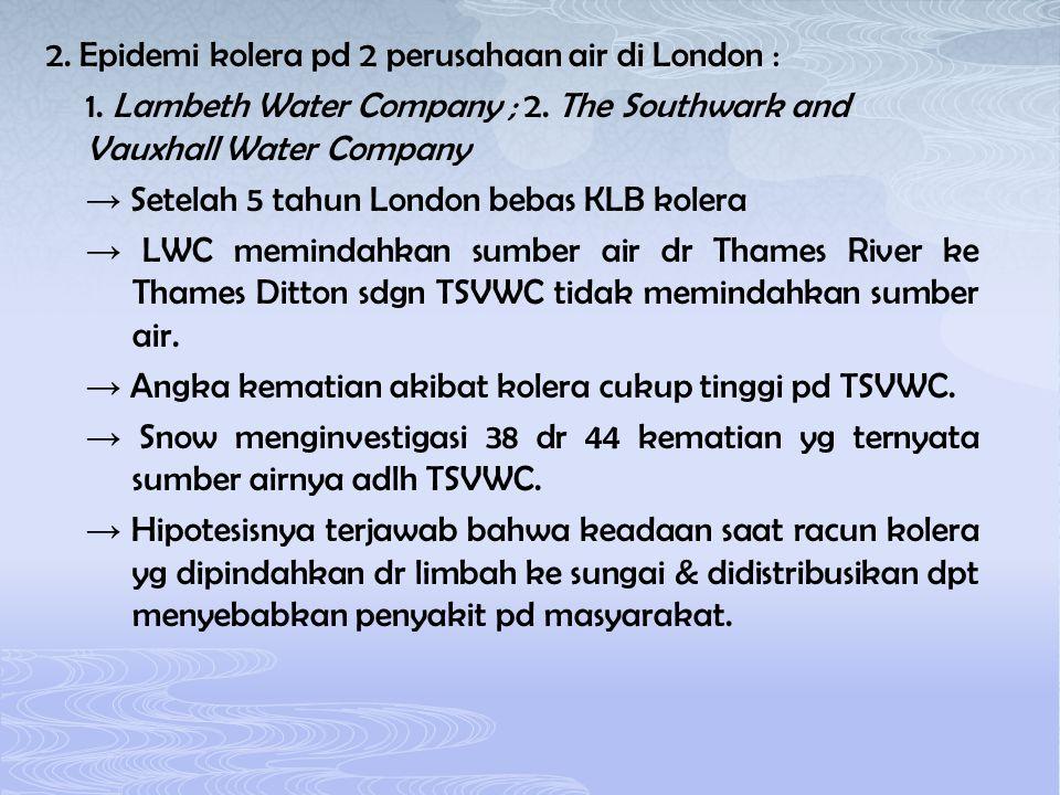 2. Epidemi kolera pd 2 perusahaan air di London : 1