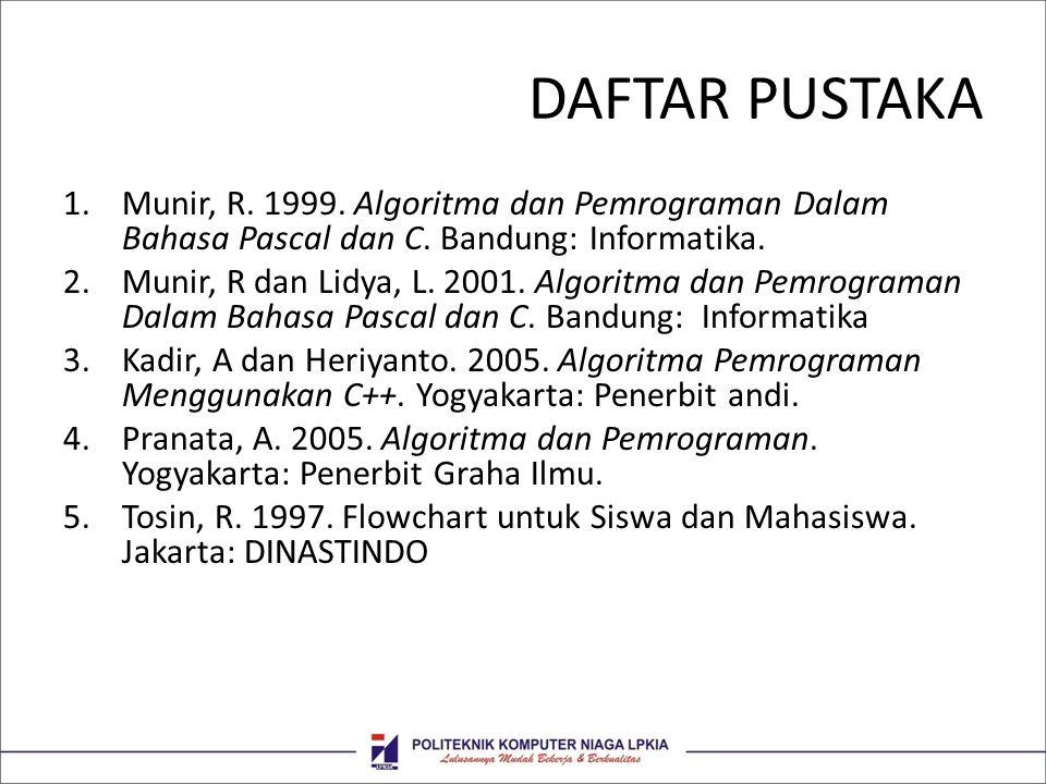 DAFTAR PUSTAKA Munir, R. 1999. Algoritma dan Pemrograman Dalam Bahasa Pascal dan C. Bandung: Informatika.