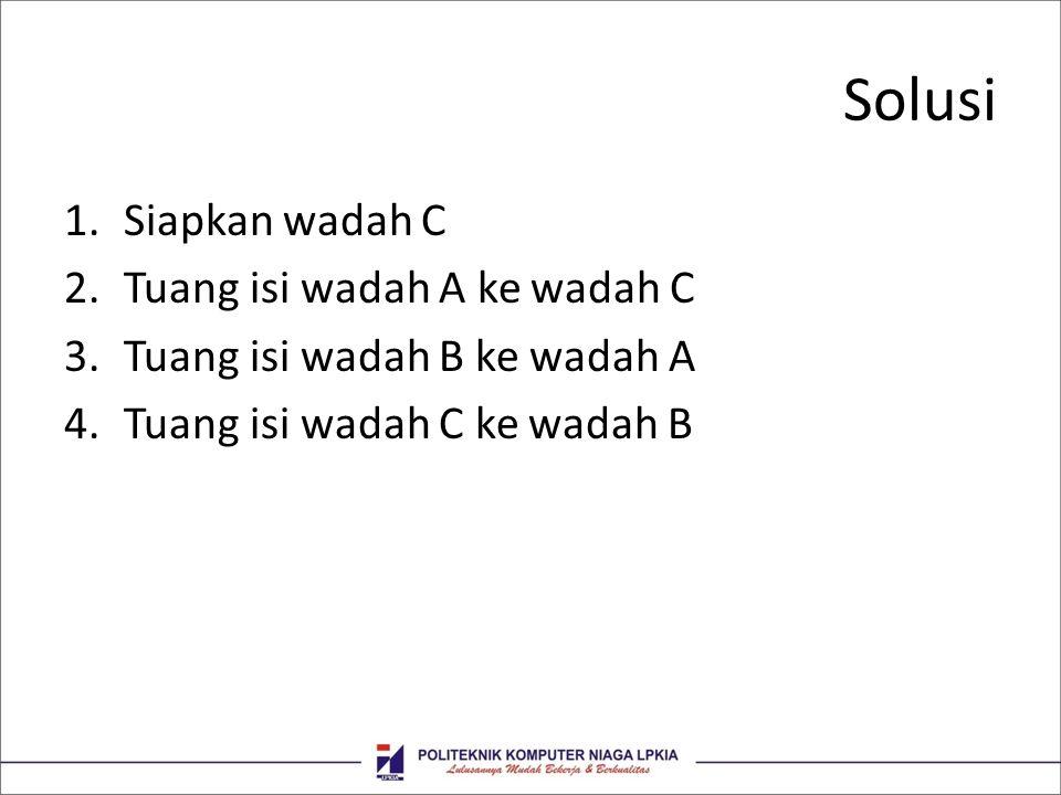 Solusi Siapkan wadah C Tuang isi wadah A ke wadah C