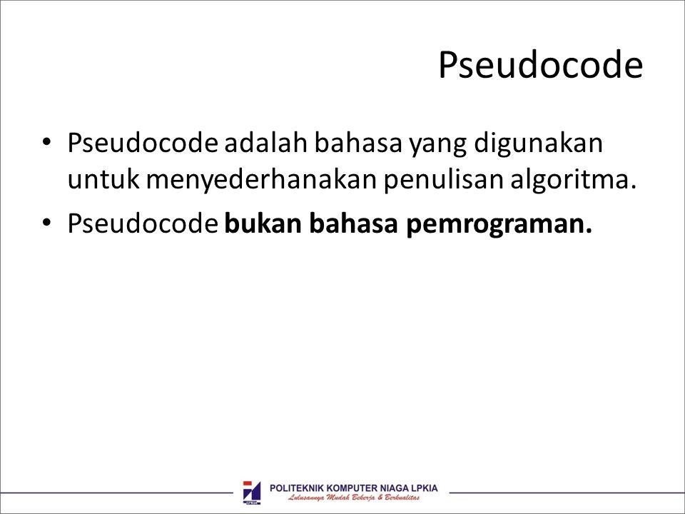 Pseudocode Pseudocode adalah bahasa yang digunakan untuk menyederhanakan penulisan algoritma.