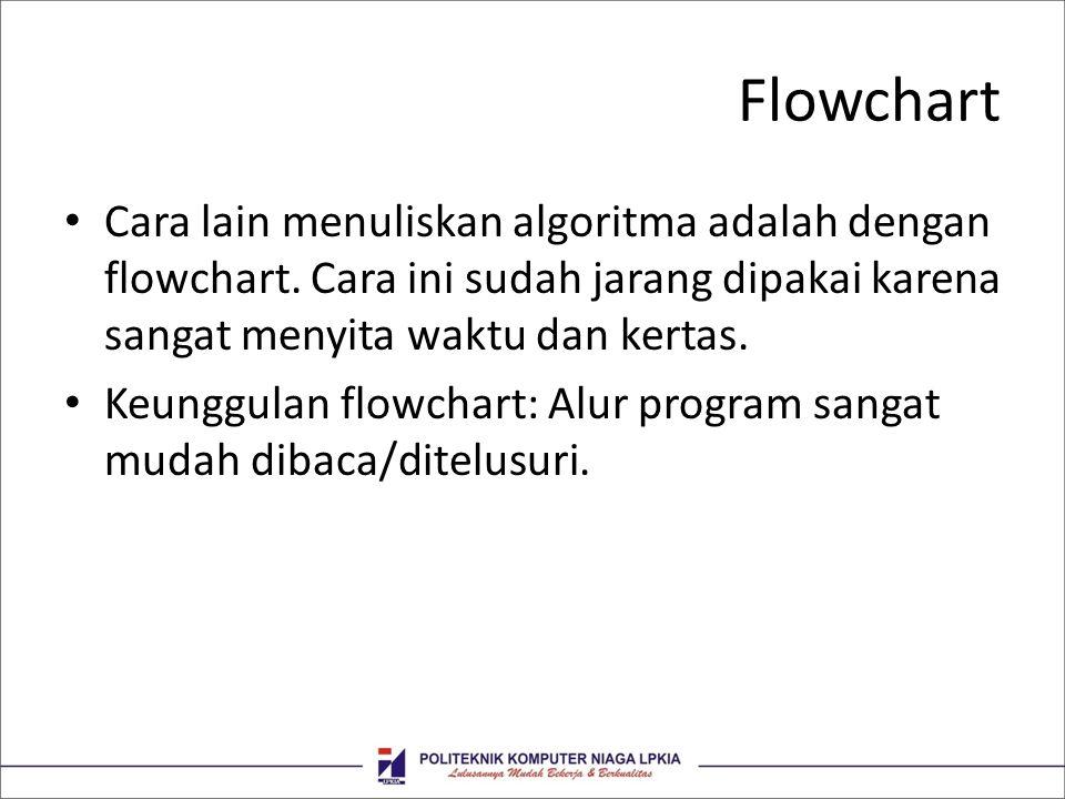 Flowchart Cara lain menuliskan algoritma adalah dengan flowchart. Cara ini sudah jarang dipakai karena sangat menyita waktu dan kertas.