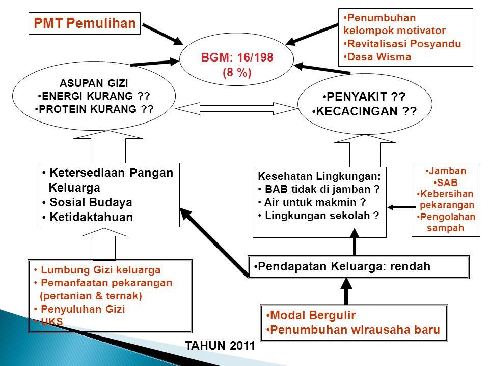 PMT Pemulihan BGM: 16/198 (8 %) PENYAKIT KECACINGAN