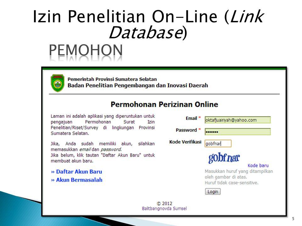 Izin Penelitian On-Line (Link Database)