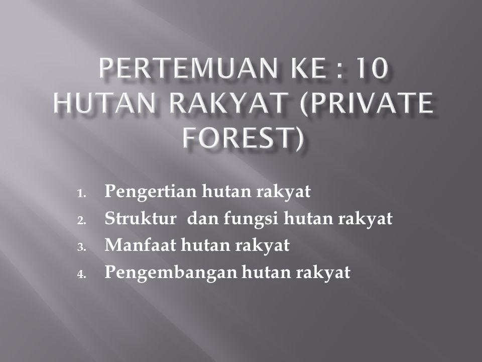 Pertemuan ke : 10 HUTAN RAKYAT (PRIVATE FOREST)