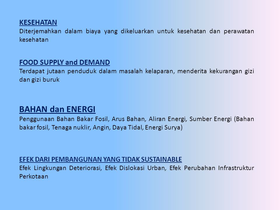 BAHAN dan ENERGI KESEHATAN FOOD SUPPLY and DEMAND