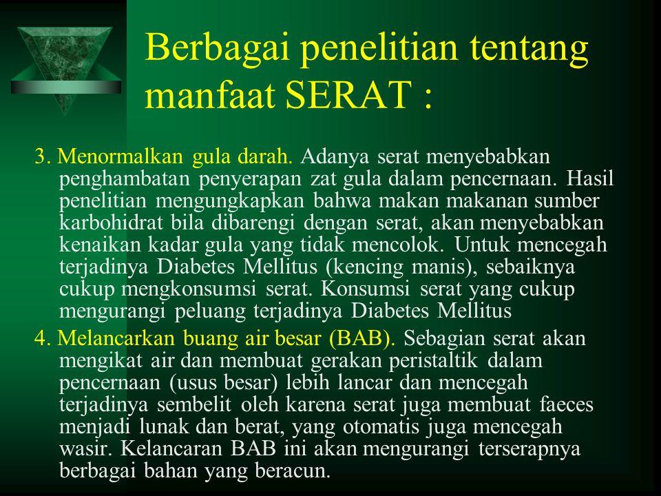 Berbagai penelitian tentang manfaat SERAT :