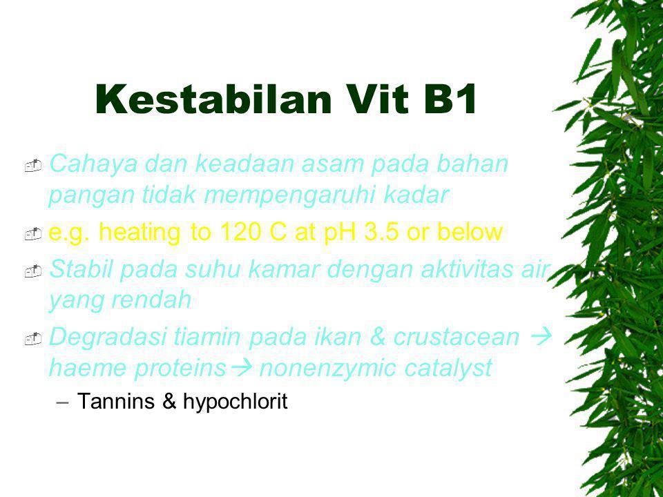 Kestabilan Vit B1 Cahaya dan keadaan asam pada bahan pangan tidak mempengaruhi kadar. e.g. heating to 120 C at pH 3.5 or below.