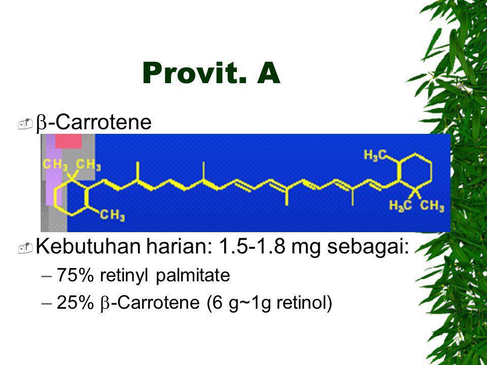 Provit. A b-Carrotene Kebutuhan harian: 1.5-1.8 mg sebagai: