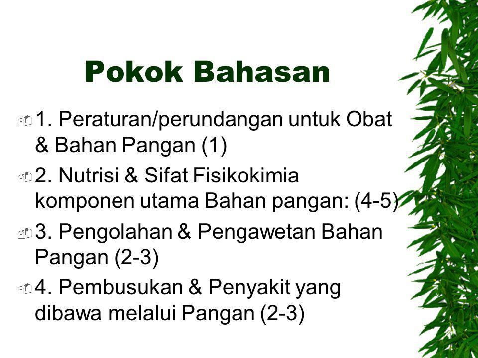 Pokok Bahasan 1. Peraturan/perundangan untuk Obat & Bahan Pangan (1)