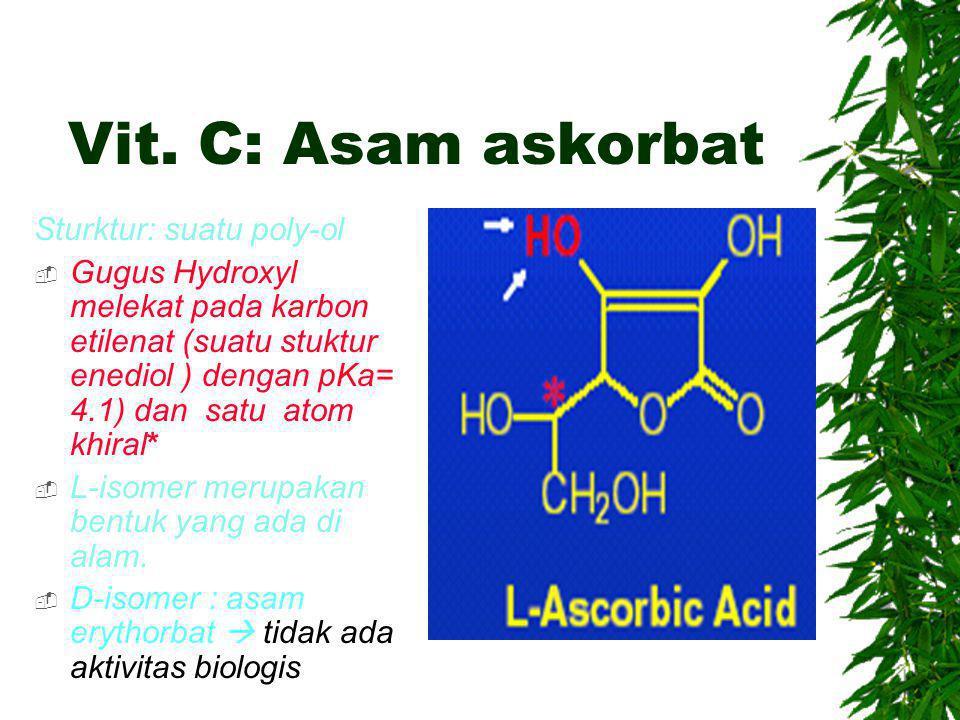 Vit. C: Asam askorbat Sturktur: suatu poly-ol