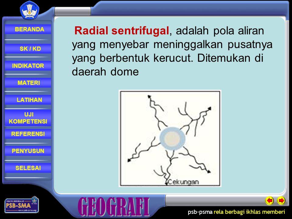 Radial sentrifugal, adalah pola aliran yang menyebar meninggalkan pusatnya yang berbentuk kerucut.