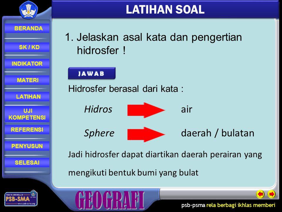 LATIHAN SOAL 1. Jelaskan asal kata dan pengertian hidrosfer !
