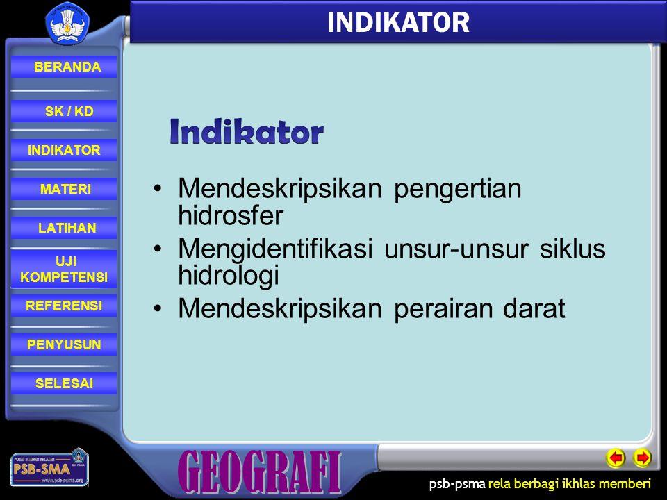 Indikator INDIKATOR Mendeskripsikan pengertian hidrosfer