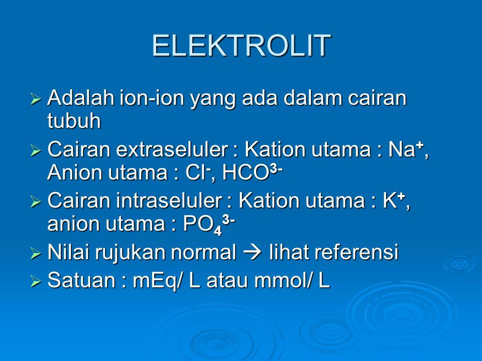 ELEKTROLIT Adalah ion-ion yang ada dalam cairan tubuh