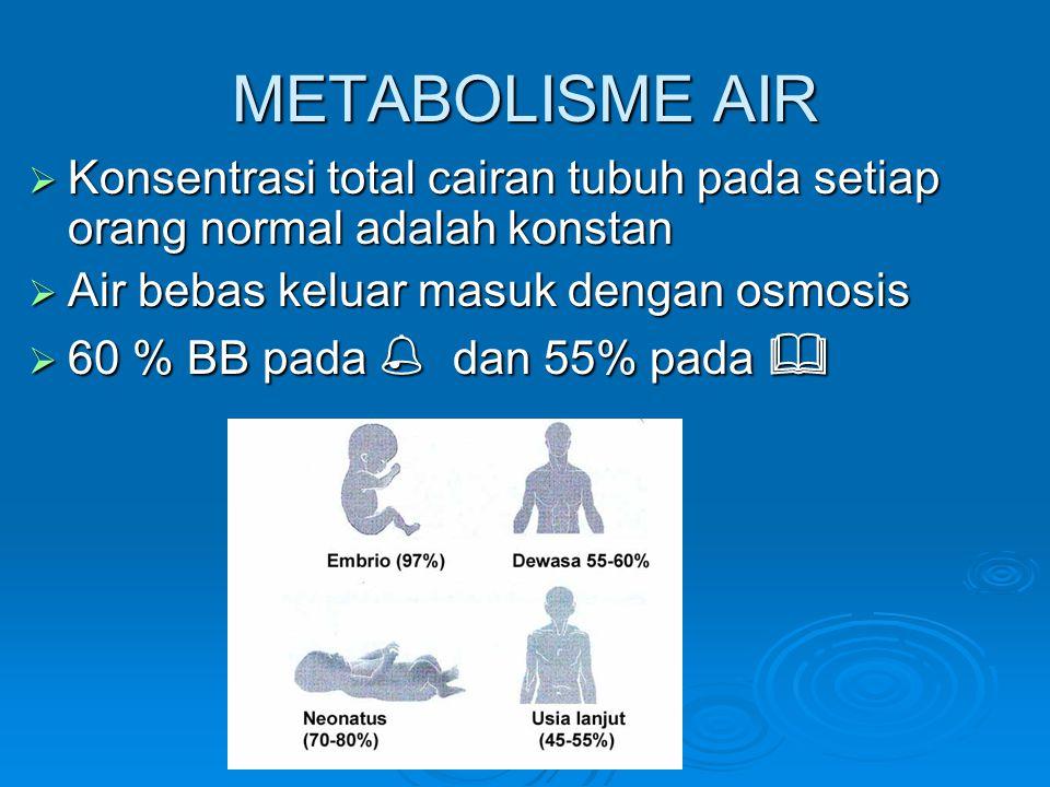 METABOLISME AIR Konsentrasi total cairan tubuh pada setiap orang normal adalah konstan. Air bebas keluar masuk dengan osmosis.