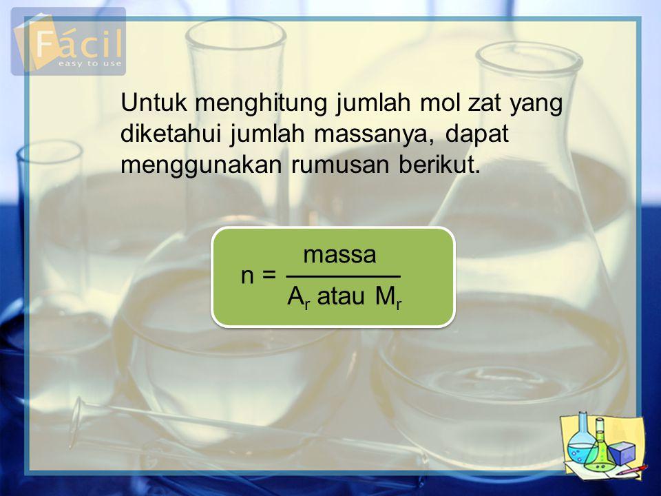 Untuk menghitung jumlah mol zat yang diketahui jumlah massanya, dapat menggunakan rumusan berikut.