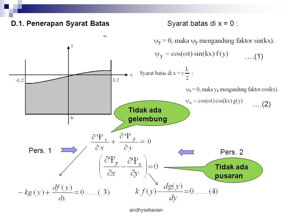 D.1. Penerapan Syarat Batas Syarat batas di x = 0 :