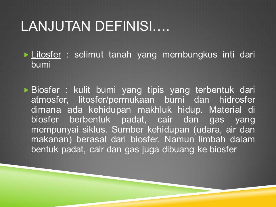 Lanjutan Definisi…. Litosfer : selimut tanah yang membungkus inti dari bumi.