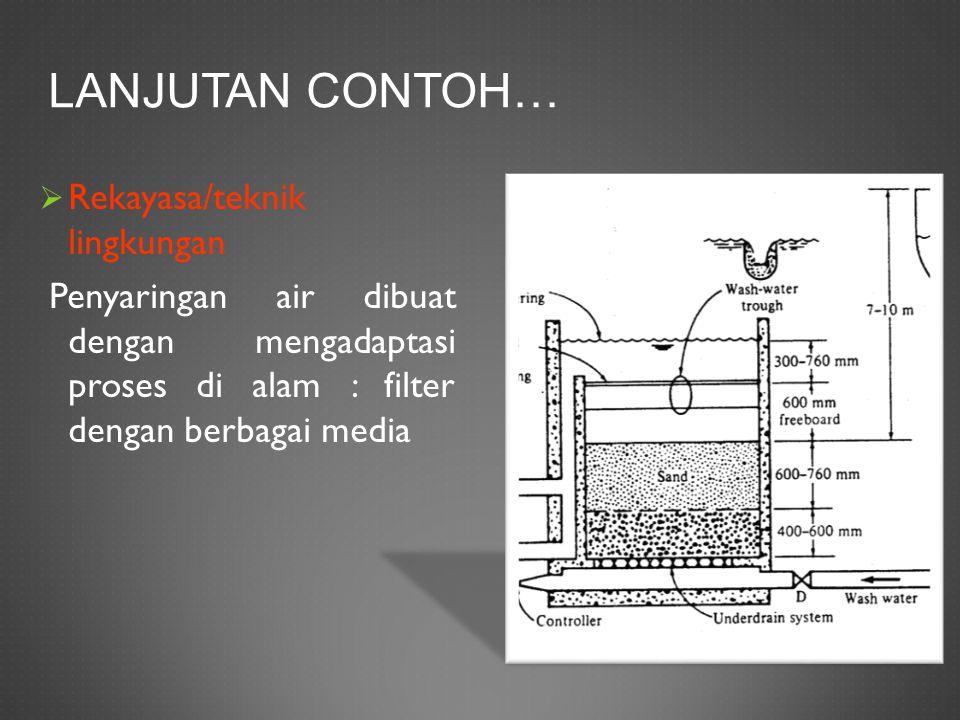 Lanjutan contoh… Rekayasa/teknik lingkungan