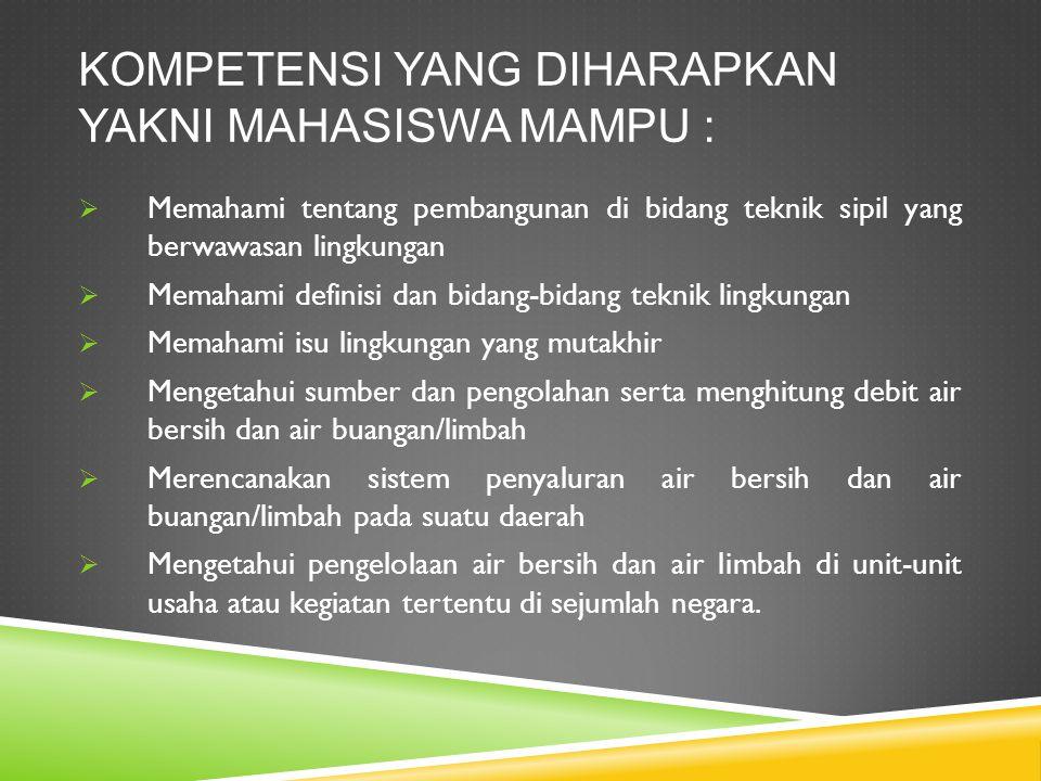 Kompetensi yang diharapkan yakni mahasiswa mampu :