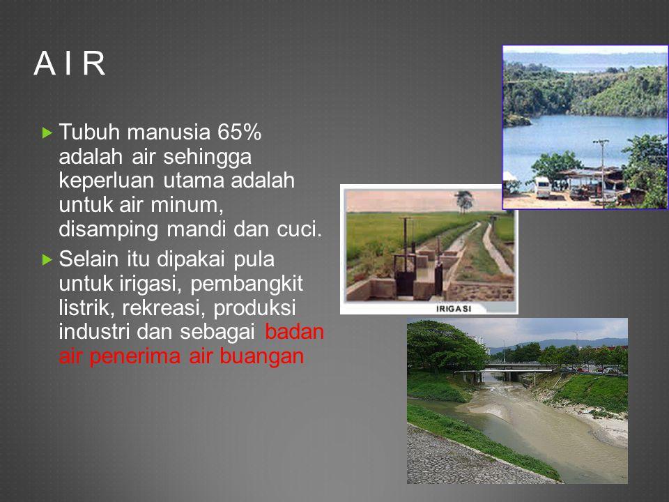 A I R Tubuh manusia 65% adalah air sehingga keperluan utama adalah untuk air minum, disamping mandi dan cuci.