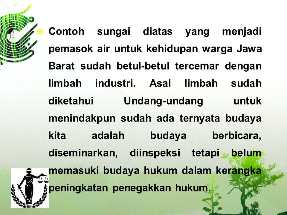 Contoh sungai diatas yang menjadi pemasok air untuk kehidupan warga Jawa Barat sudah betul-betul tercemar dengan limbah industri.