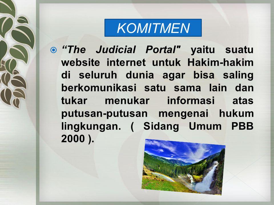 The Judicial Portal yaitu suatu website internet untuk Hakim-hakim di seluruh dunia agar bisa saling berkomunikasi satu sama lain dan tukar menukar informasi atas putusan-putusan mengenai hukum lingkungan. ( Sidang Umum PBB 2000 ).