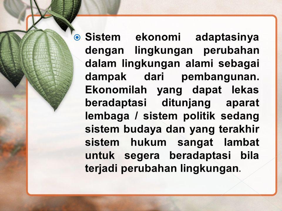 Sistem ekonomi adaptasinya dengan lingkungan perubahan dalam lingkungan alami sebagai dampak dari pembangunan.