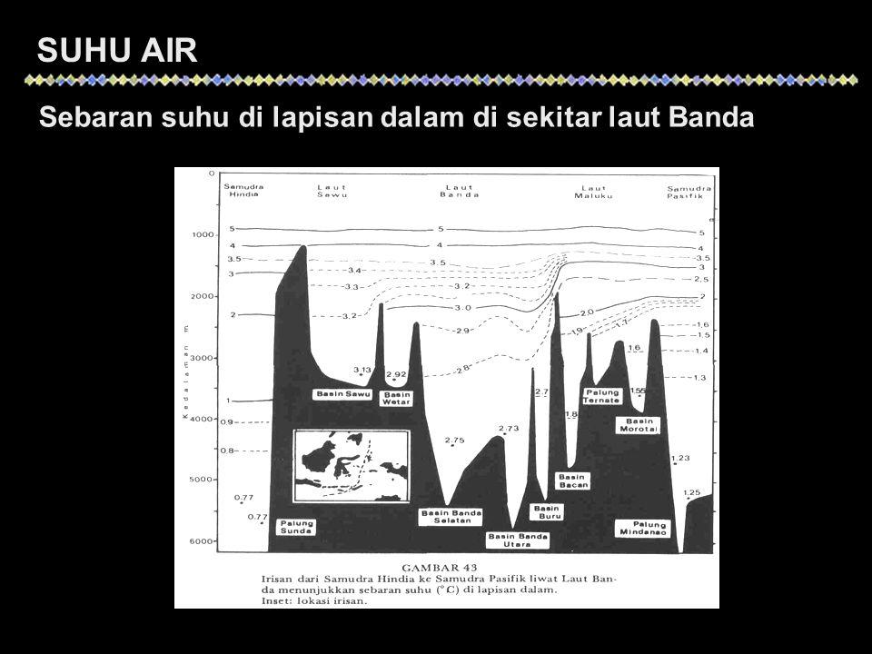 SUHU AIR Sebaran suhu di lapisan dalam di sekitar laut Banda