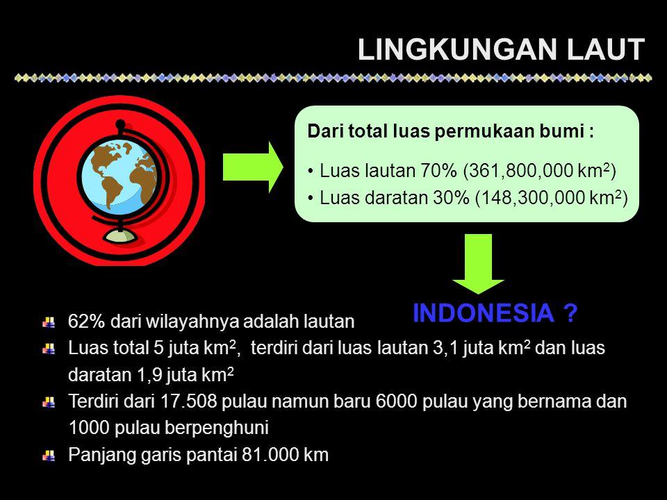 LINGKUNGAN LAUT INDONESIA Dari total luas permukaan bumi :