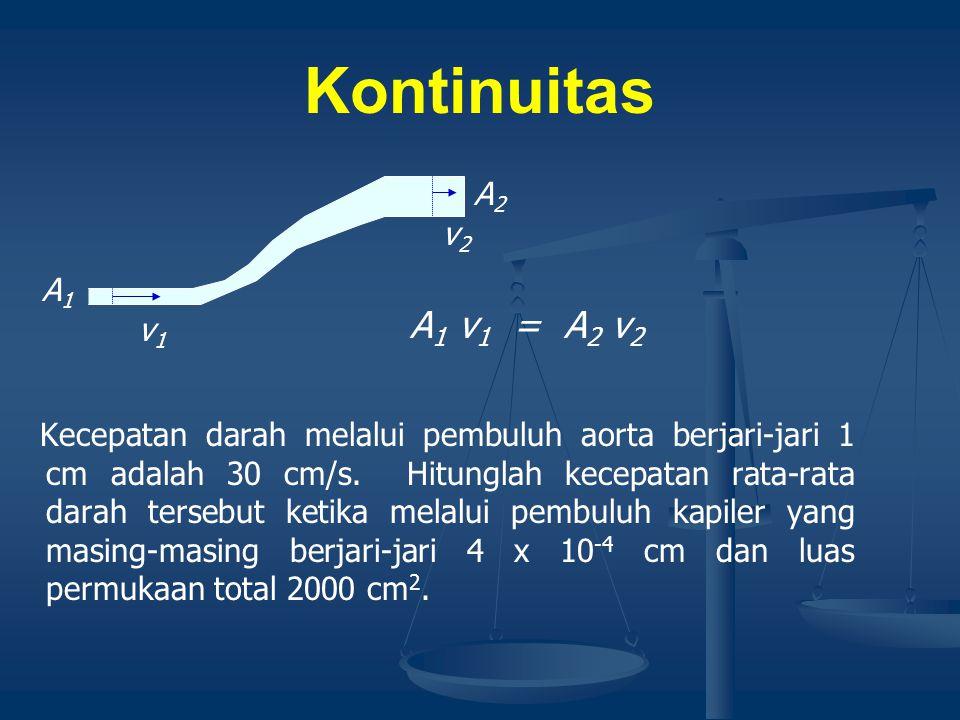 Kontinuitas A1 v1 = A2 v2 A2 v2 A1 v1