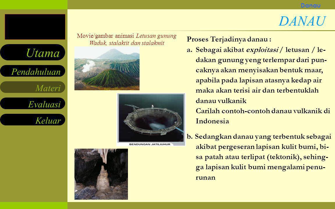 DANAU Berikutnya Proses Terjadinya danau :