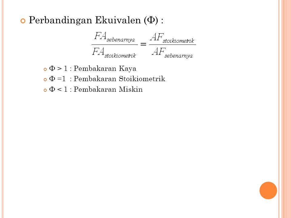 Perbandingan Ekuivalen (Φ) :