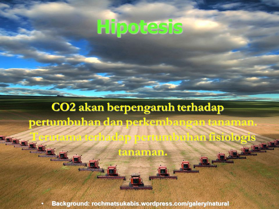 Hipotesis CO2 akan berpengaruh terhadap pertumbuhan dan perkembangan tanaman. Terutama terhadap pertumbuhan fisiologis tanaman.