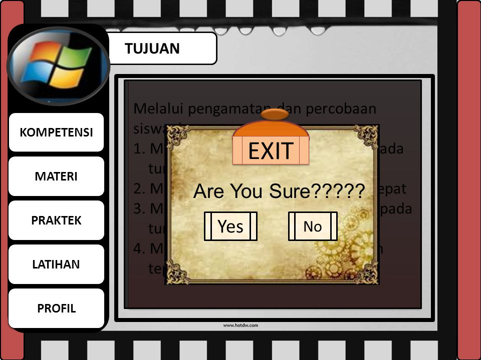 EXIT Are You Sure Yes TUJUAN