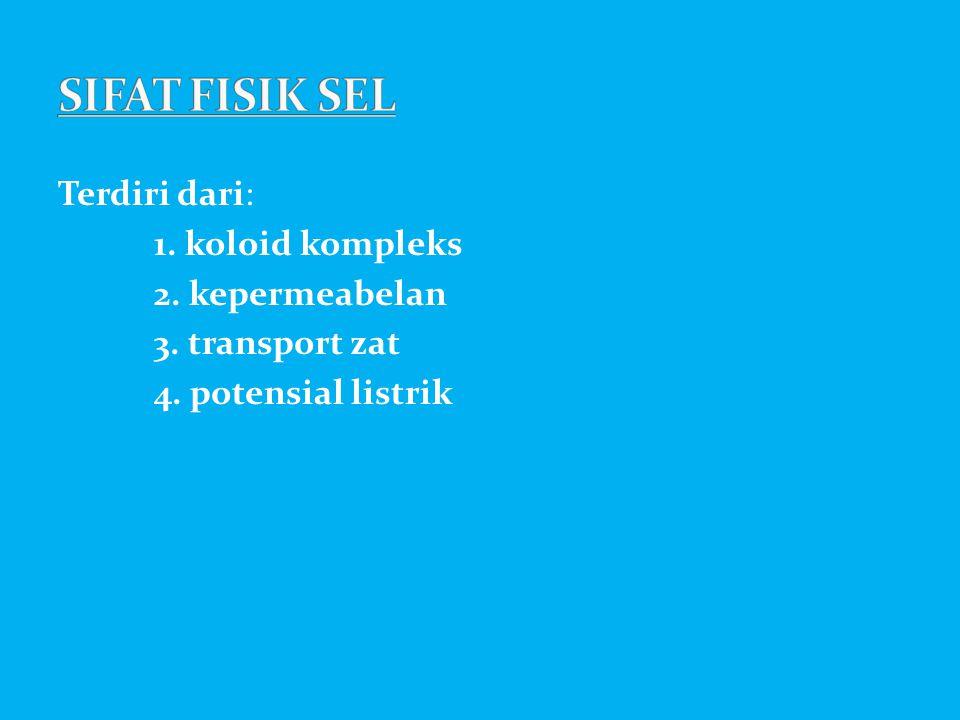 SIFAT FISIK SEL Terdiri dari: 1. koloid kompleks 2. kepermeabelan