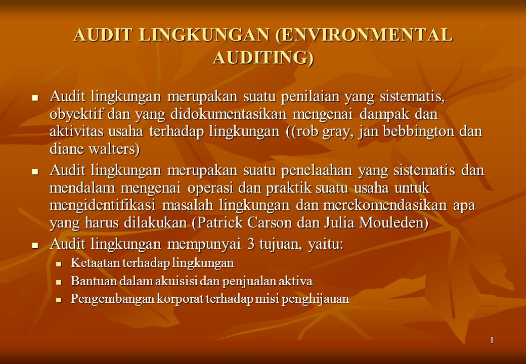 AUDIT LINGKUNGAN (ENVIRONMENTAL AUDITING)