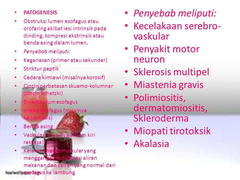 Kecelakaan serebro-vaskular Penyakit motor neuron Sklerosis multipel