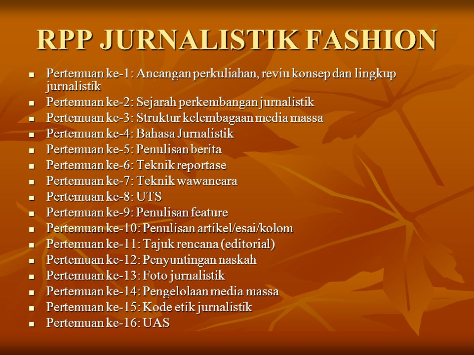 RPP JURNALISTIK FASHION