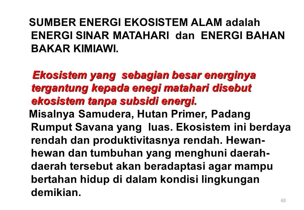SUMBER ENERGI EKOSISTEM ALAM adalah ENERGI SINAR MATAHARI dan ENERGI BAHAN BAKAR KIMIAWI.