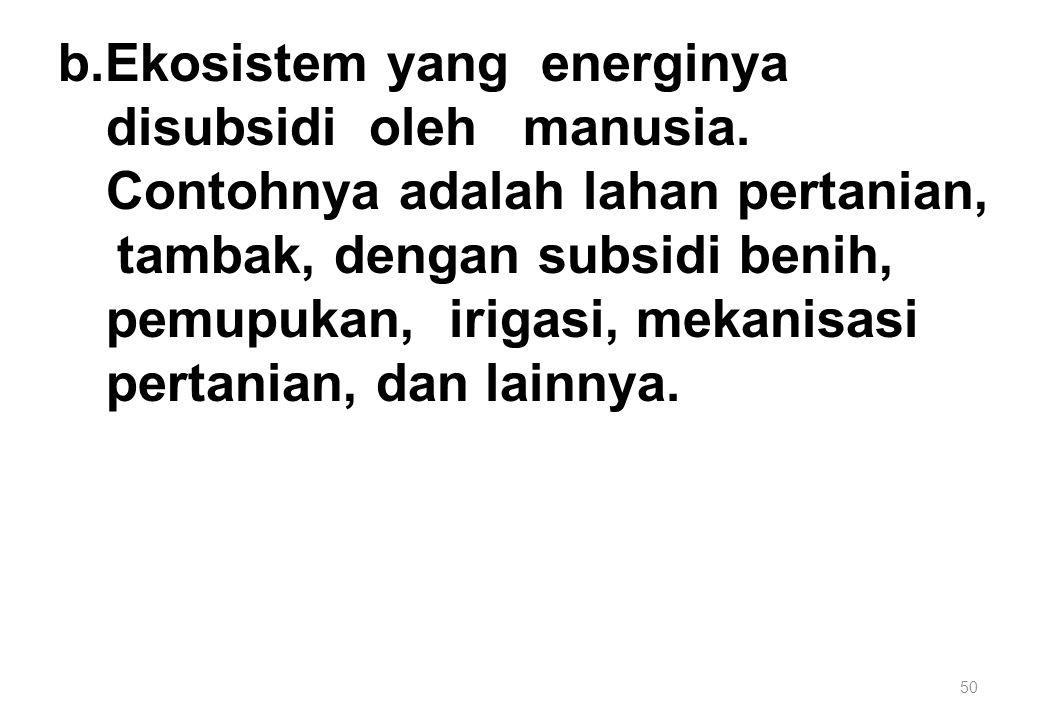 b. Ekosistem yang energinya disubsidi oleh manusia