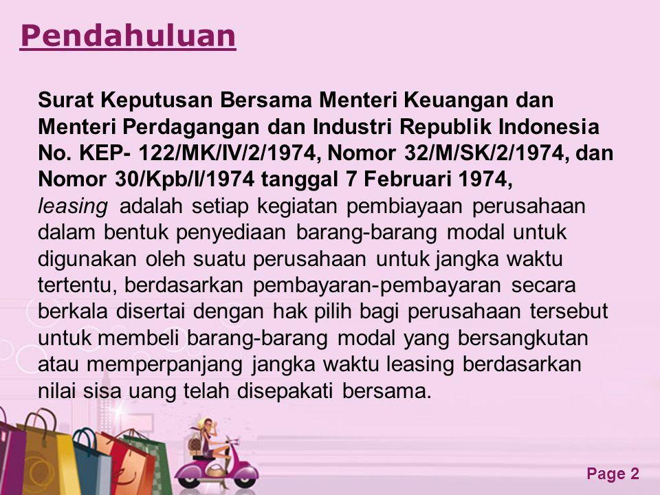 Pendahuluan Surat Keputusan Bersama Menteri Keuangan dan Menteri Perdagangan dan Industri Republik Indonesia.