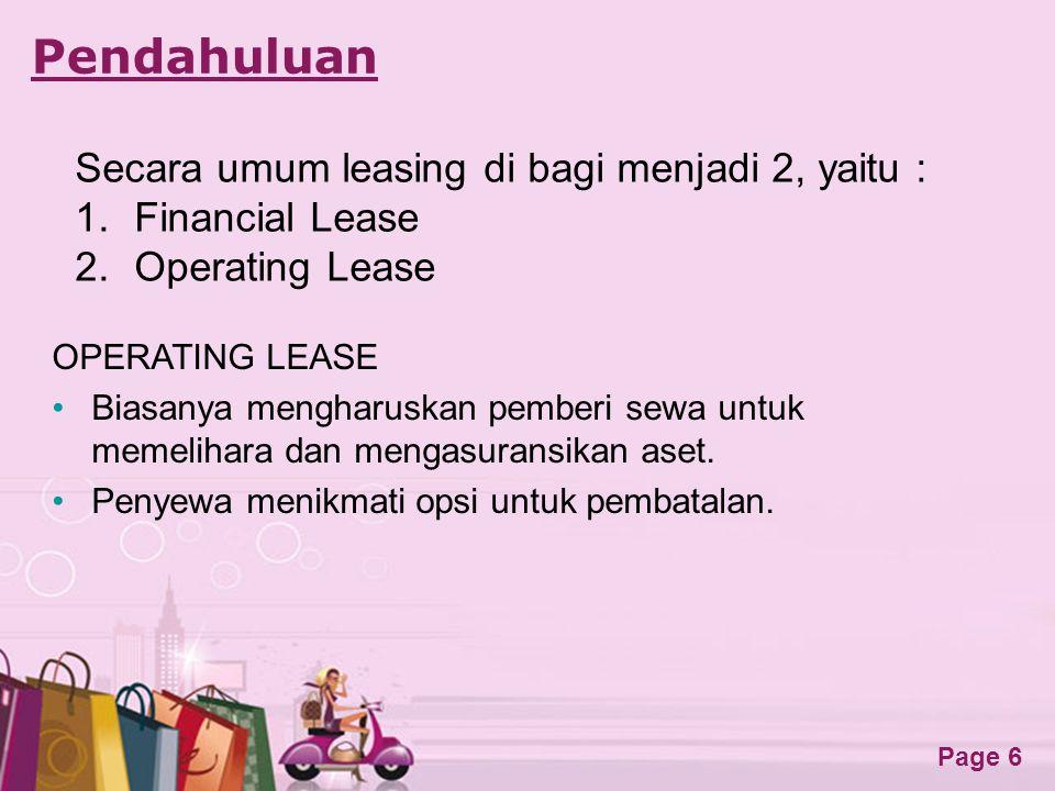 Pendahuluan Secara umum leasing di bagi menjadi 2, yaitu :