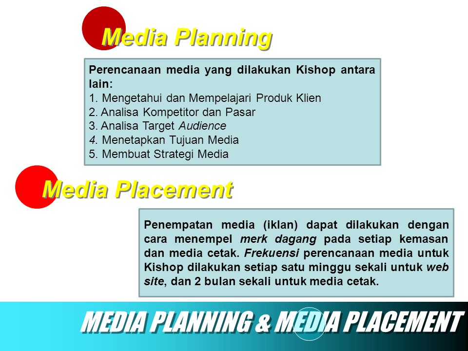 MEDIA PLANNING & MEDIA PLACEMENT
